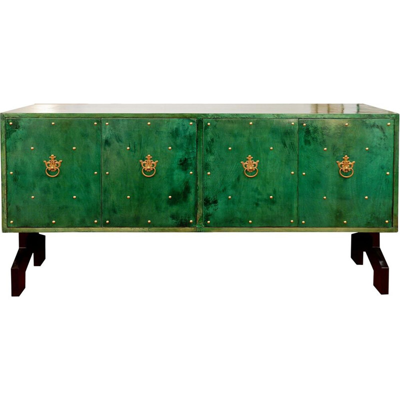 Vintage sideboard parchment imitation in green color by Aldo Tura, Italy, 1970