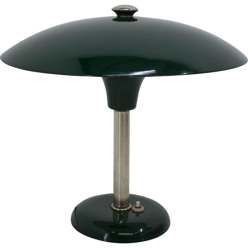 Vintage green Art Deco Bauhaus table lamp by Max Schumacher, Germany, 1930s