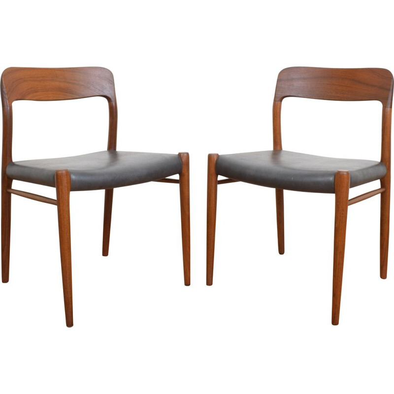 Pair of Danish teak chairs by Niels Otto Møller for J. L. Møller, 1960s