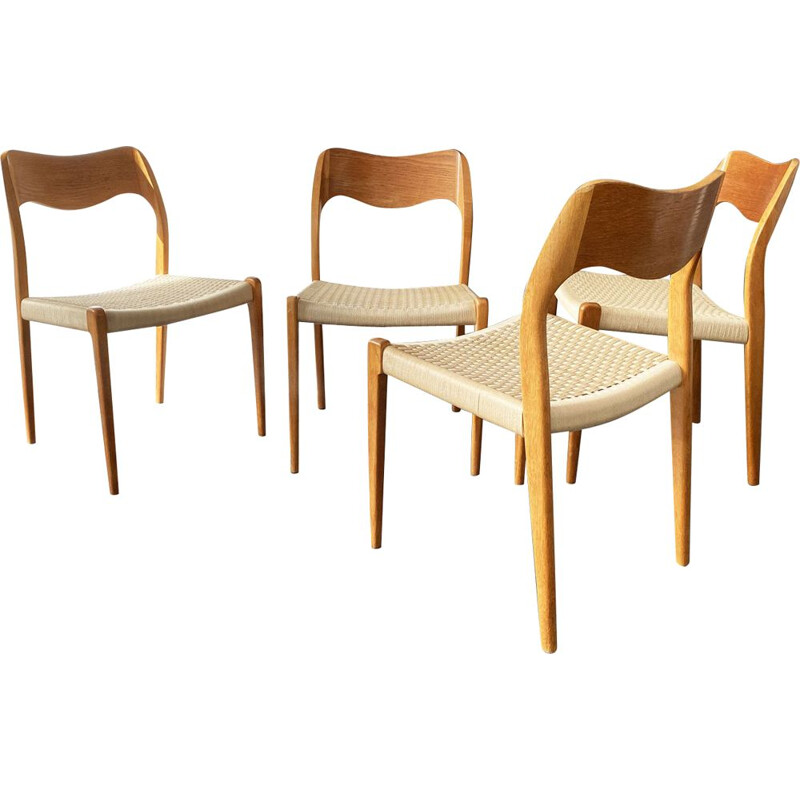 Set of 4 vintage Model 71 teak chairs by Niels Otto Möller for J. L. Möller Möbelfabrik, 1950