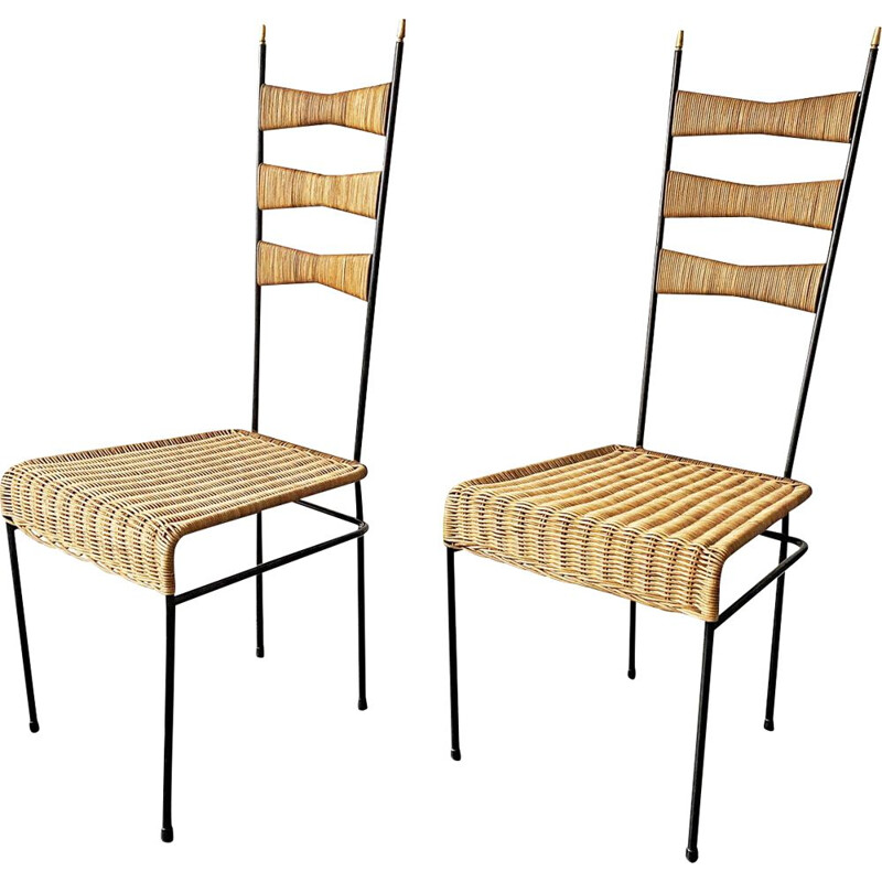 Pair of vintage basketwork high back chairs with black painted metal frame, France, 1950
