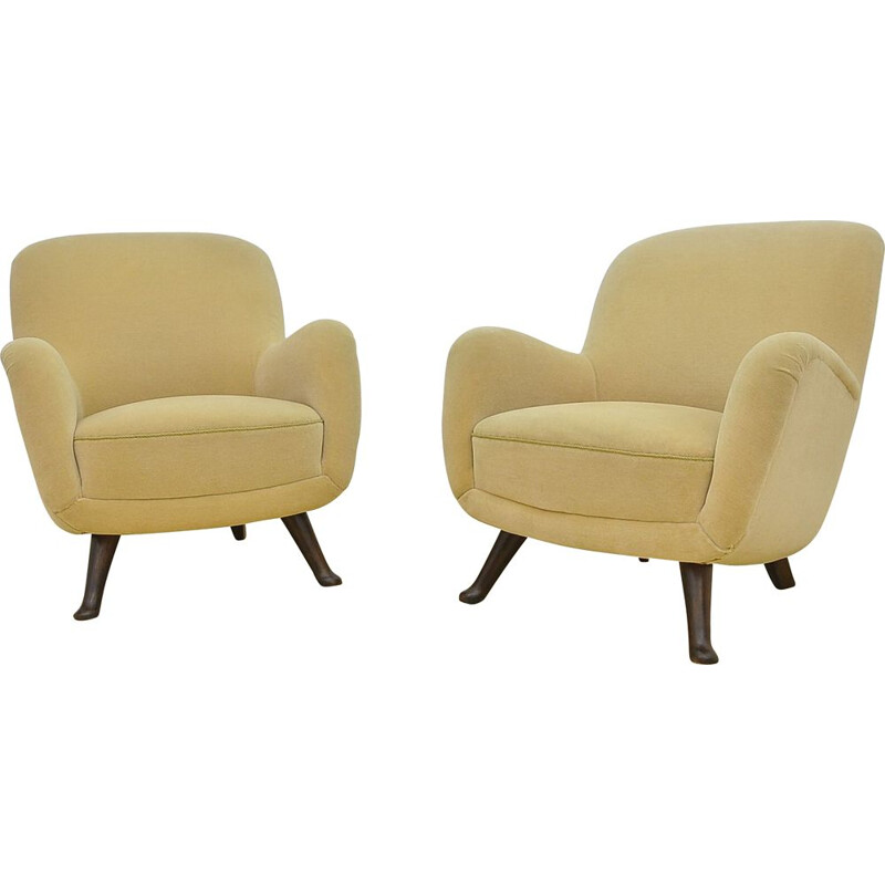 Pair of vintage velours armchairs by Berga Mobler