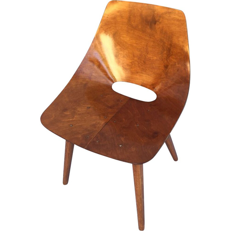 "Vintage chair said ""tonneau"" by Pierre Guariche for Steiner, first edition, 1953"