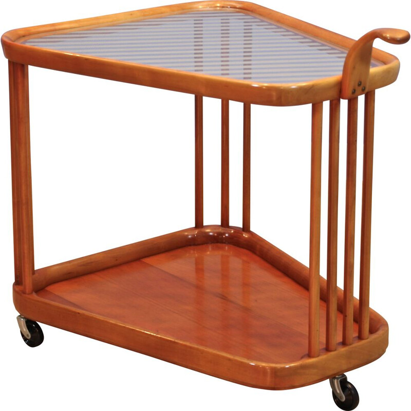 Vintage serving trolley in beech by Cesare Lacca for Cassina, 1960s