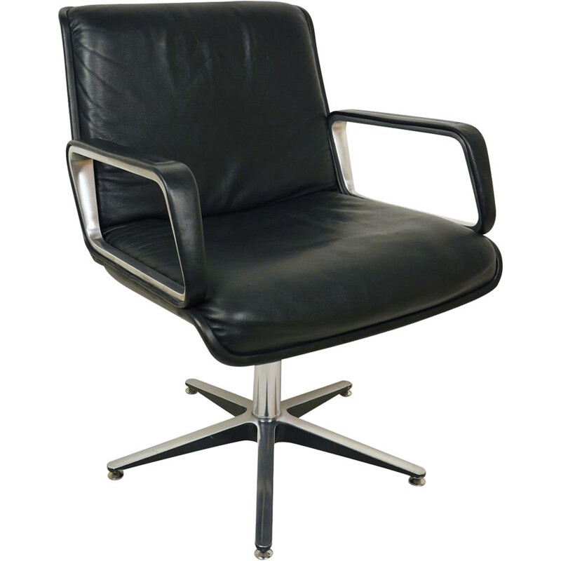 Vintage black Swivel Office Chair by Delta Design for Wilkhahn, Germany, 1970s