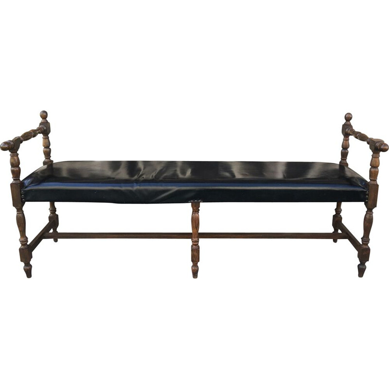 Vintage black leather window bench, France