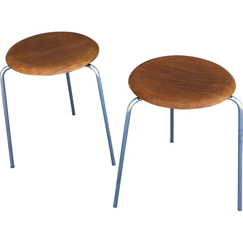 Pairs of vintage teak stools by Arne Jacobsen