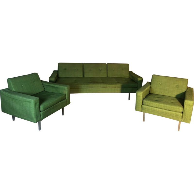 Vintage lounge set in green woolly cotton fabric by Florence Knoll, 1960s