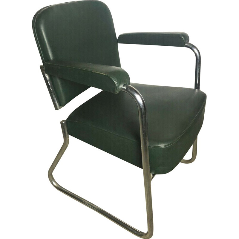 Vintage dark green skai and metal office armchair by Roneo, 1940-50s