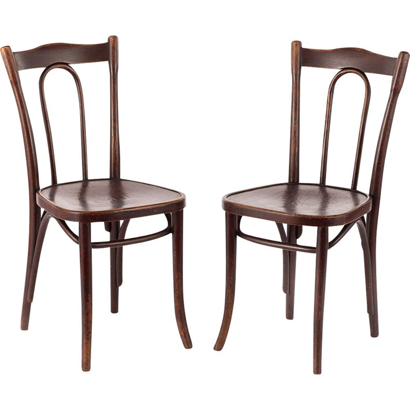 Set of 2 vintage bistro chairs by Thonet, 1920s