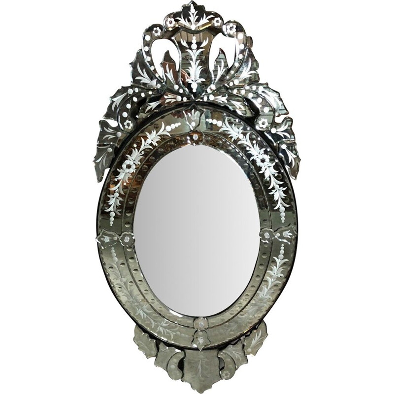 Vintage oval Venetian mirror with pediment
