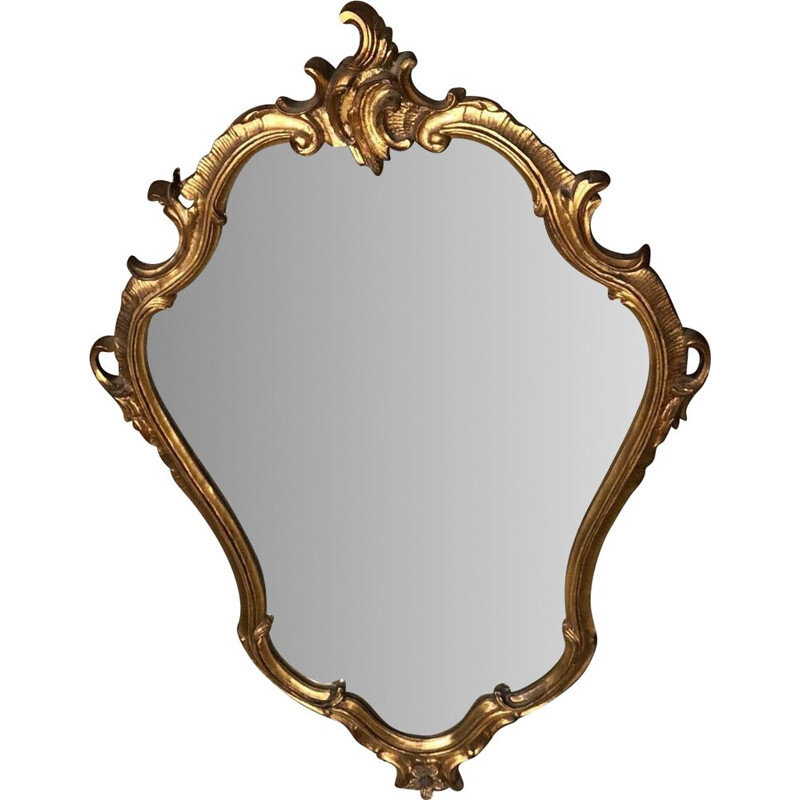 Vintage Italian oval mirror in gilded wood Louis XV style 1970