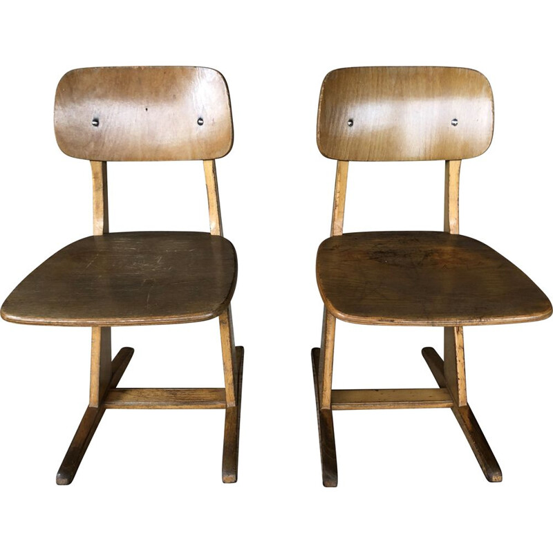 Pair of vintage children's chairs, large size model by Casala