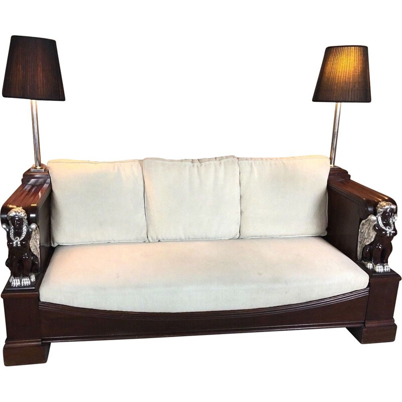 Empire style mahogany vintage hotel sofa in mahogany with caryatid decorations