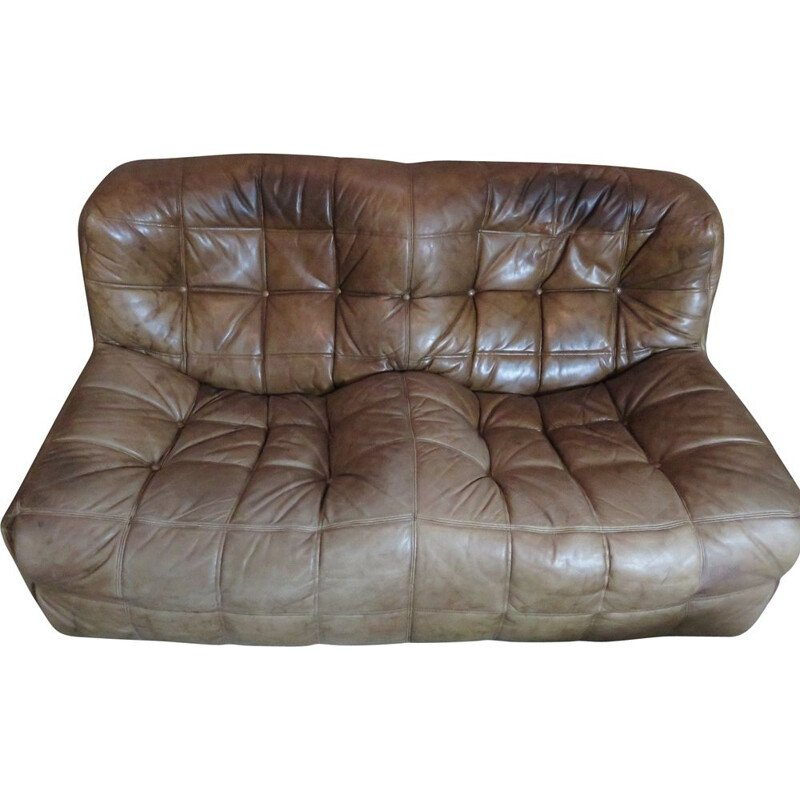 Vintage leather Kashima sofa Ligne Roset by Michel Ducaroy