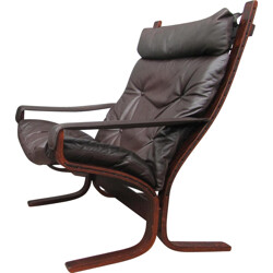 Lounge chairs in brown leather and wood, Ingmar RELLING - 1960s