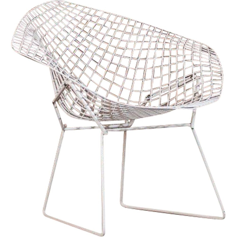 Vintage white Diamond armchair by Harry Bertoia for Knoll, 1952s