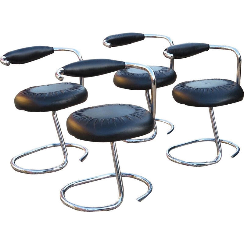 Suite of 4 chairs Giorgio Stoppino 1970