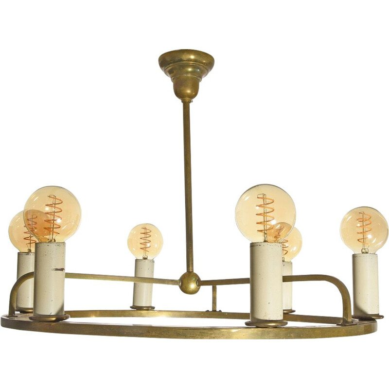 Vintage chandelier Art Deco  Bauhaus with fine original patina, Germany 1930s