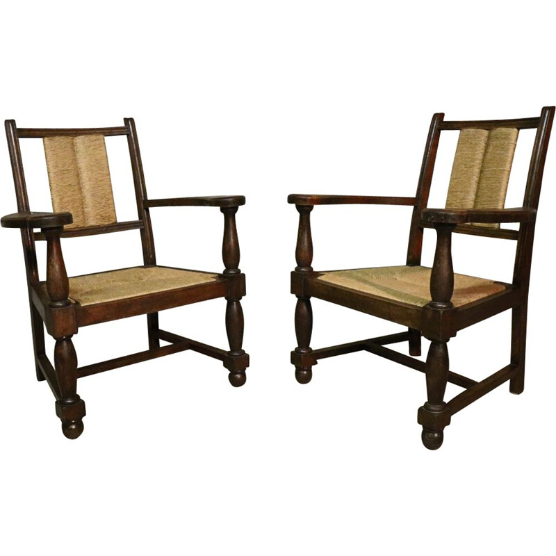 Pair of vintage armchairs in wood and straw 1940s