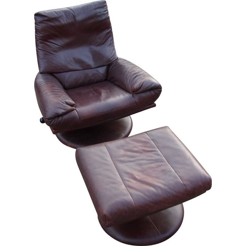 Vintage leather Rolf Benz armchair with footrest, 1970s