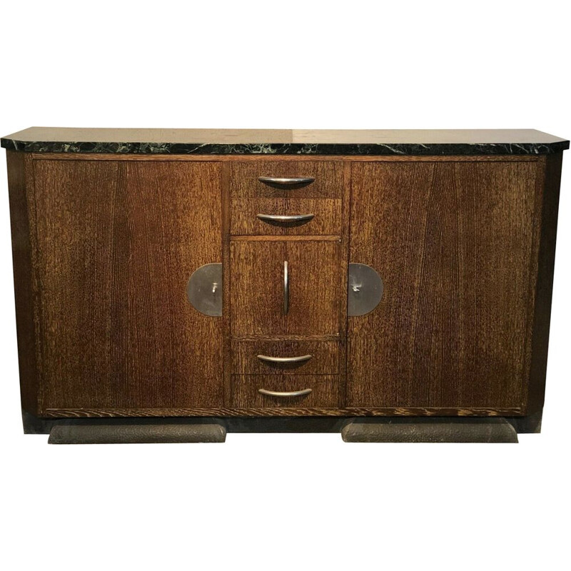 Vintage palm wood veneer sideboard in the style of Eugène PRINTZ, 1930-1940
