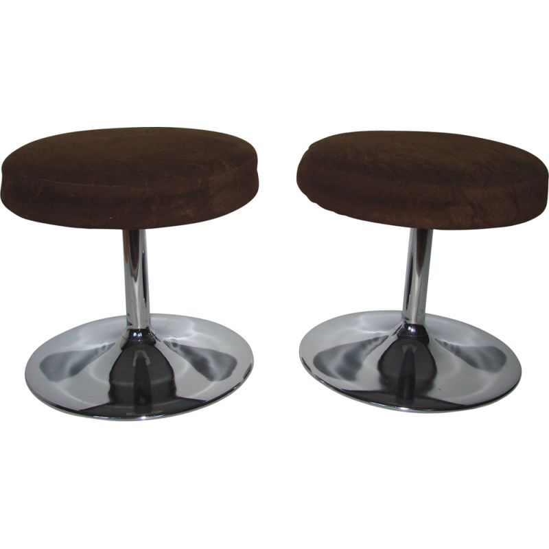 Pair of vintage stools in chrome and fabric, 1970s