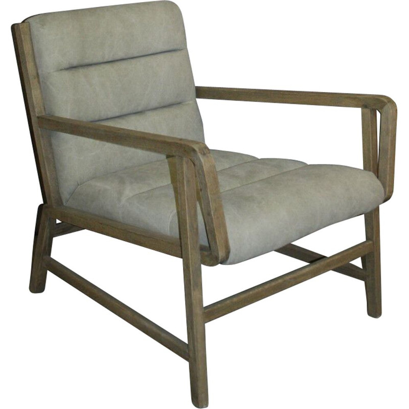 Vintage armchair in natural wood and light fabric, Scandinavian design