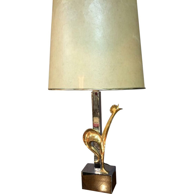 Vintage silver and gold bronze lamp with rooster 1950-1960