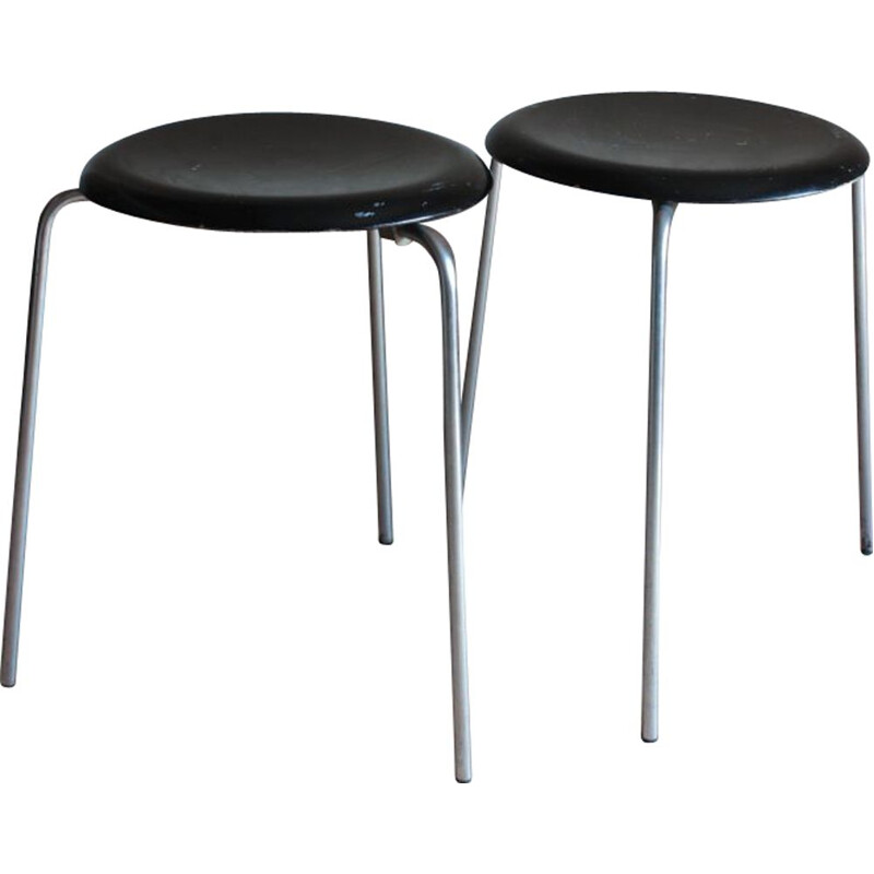 Pair of vintage tripod stools with chrome base and black seat by Jocobsen for Fritz Hansen