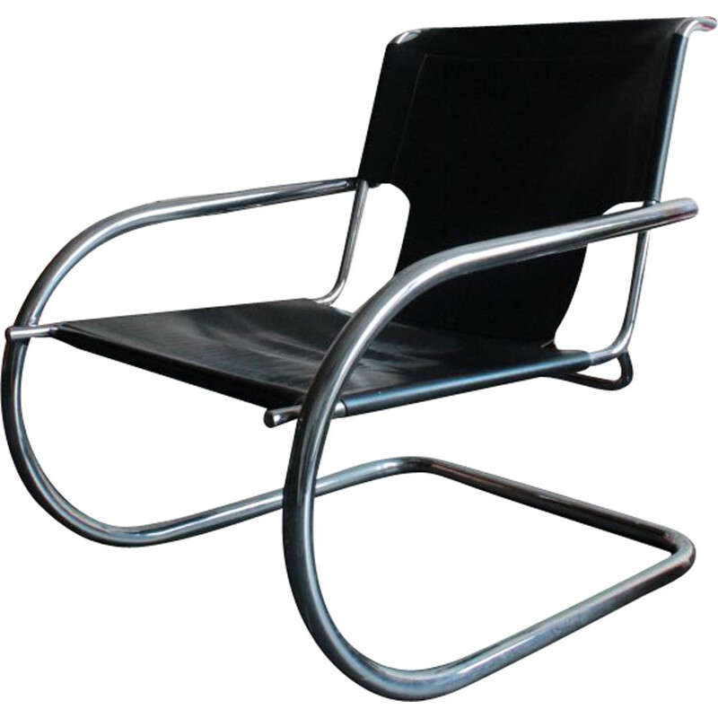 Vintage leather and chrome armchair by Arrben, Italy