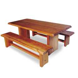Table and benches T14 model CHAPO Pierre - 1960s