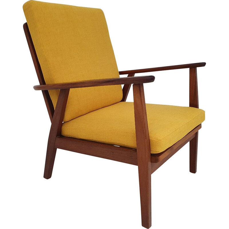 Vintage yellow Danish armchair in solid teak wood, 1970s