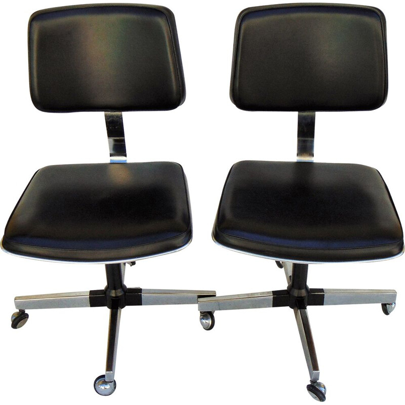Pair of vintage swivel chairs in leatherette, 1960