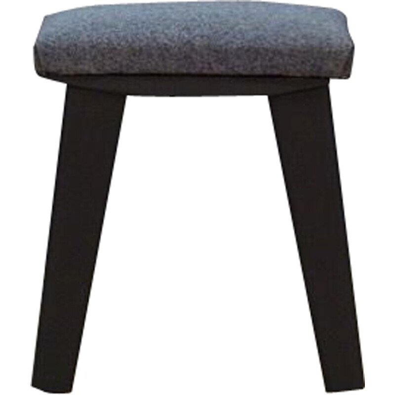 Vintage scandinavian grey fabric and oak stool, 1960s