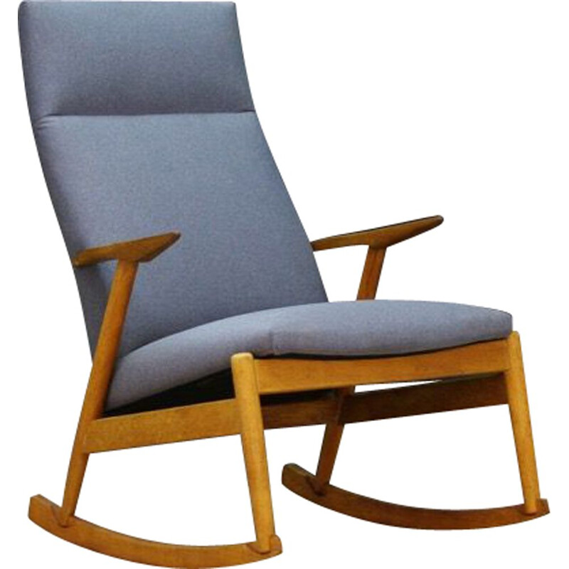 Vintage scandinavian rocking chair in ashwood, 1970s