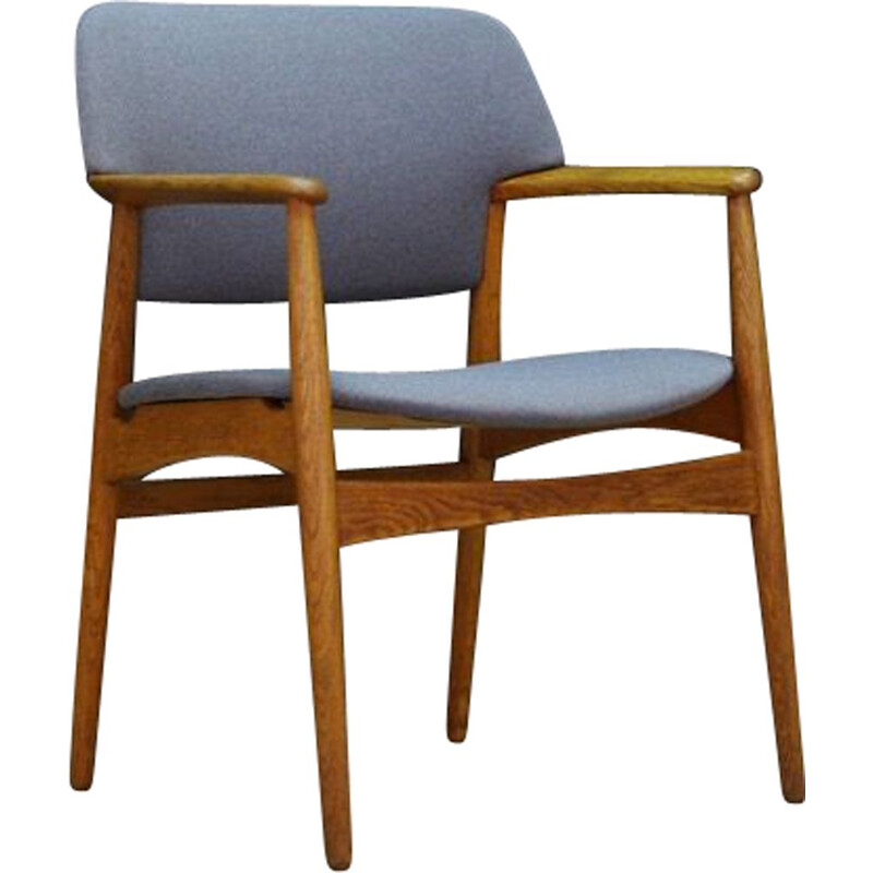 Vintage oak and fabric armchair by Fritz Hansen, 1970s