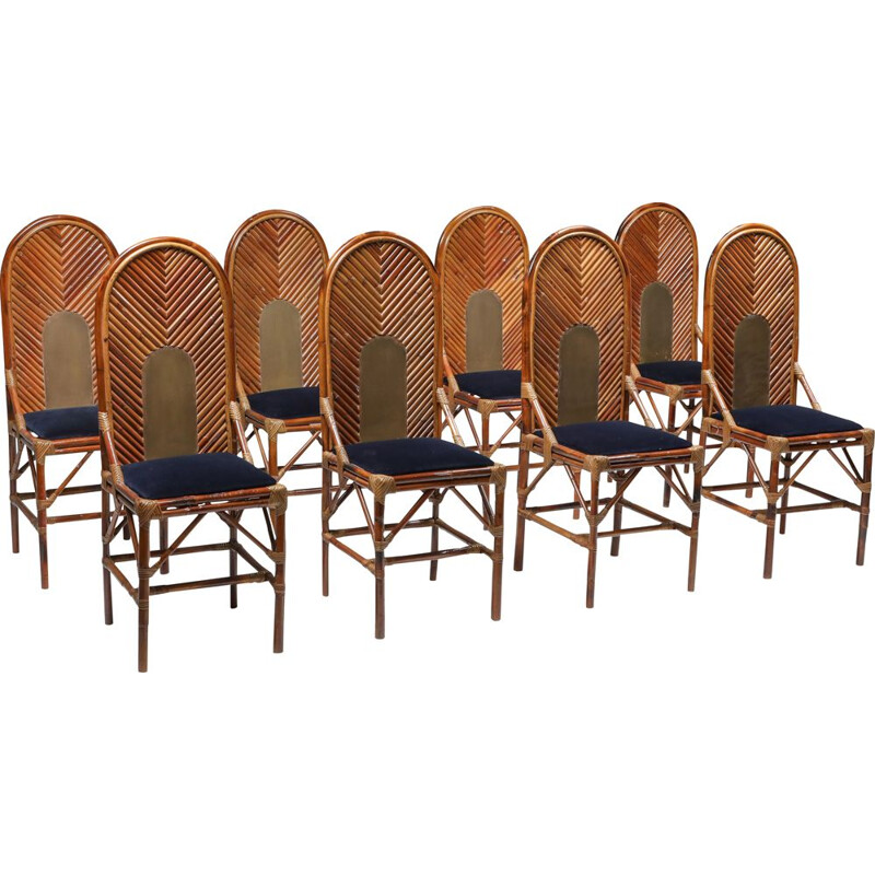 Set of 8 Vintage dining chair in bamboo, brass & blue velvet, 1970s