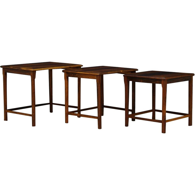 Set of 3 nesting tables in rosewood, 1960-1970