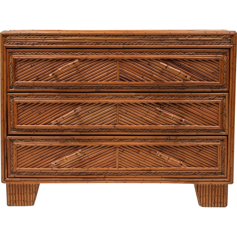 Vintage chest of drawers in rattan and bamboo in the style of Vivai Del Sud, 1970s