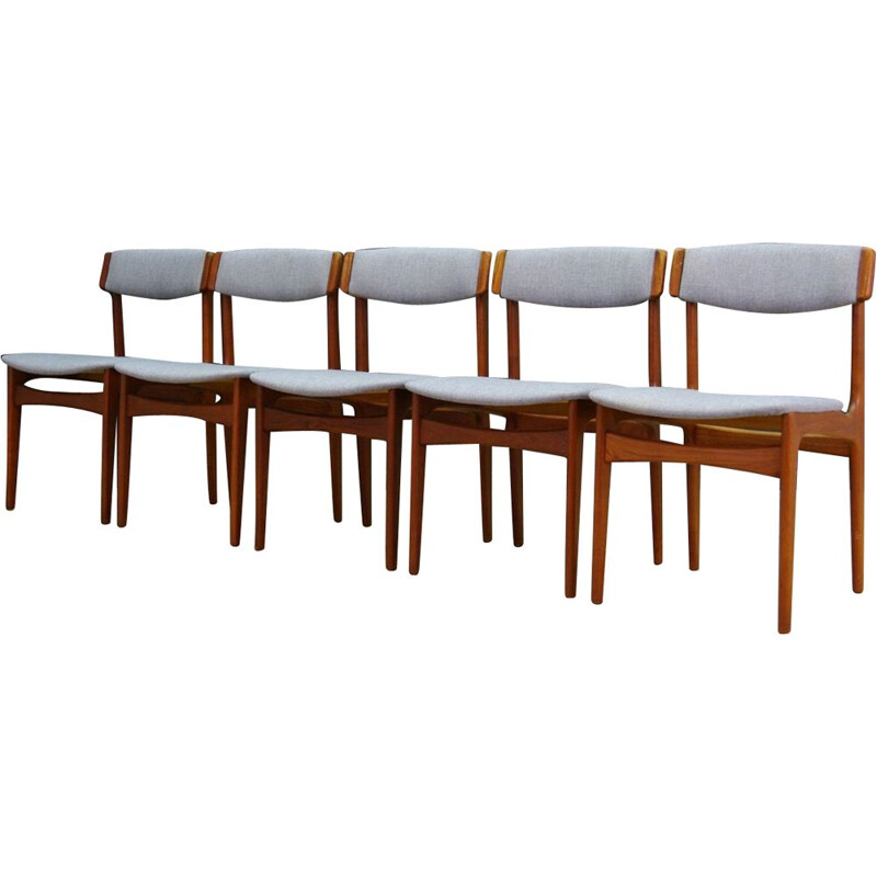 Set of 5 vintage danish chairs for T.S.M in teak and gray fabric
