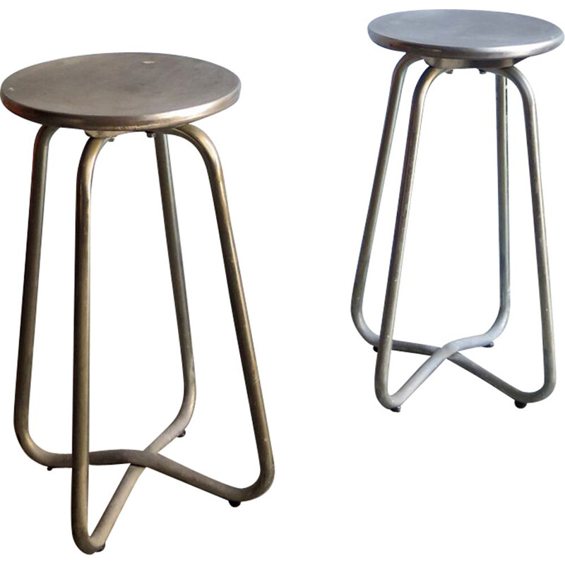 Set of 2 vintage metal high stools