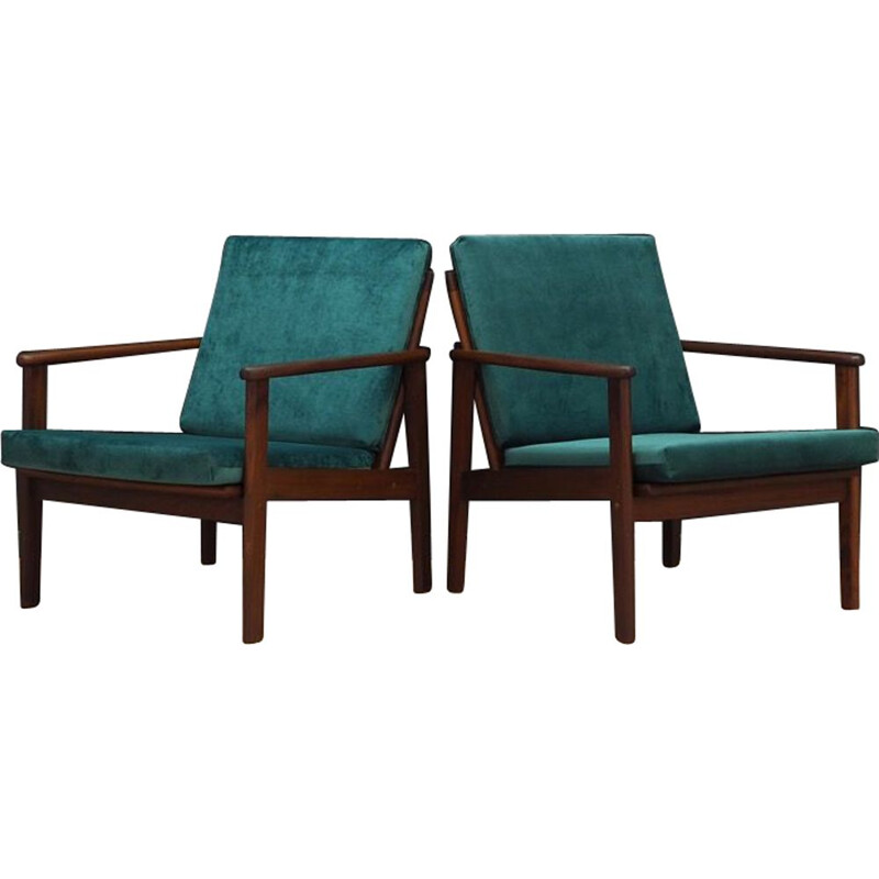 Vintage Danish armchair in teak and green velvet