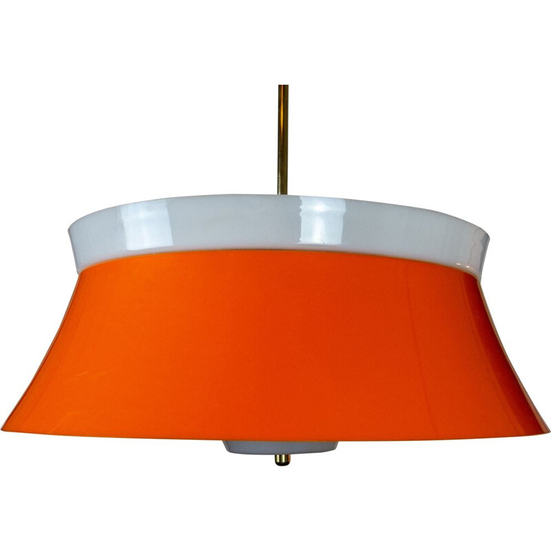 Large orange space age vintage suspension in the style of Guzzini