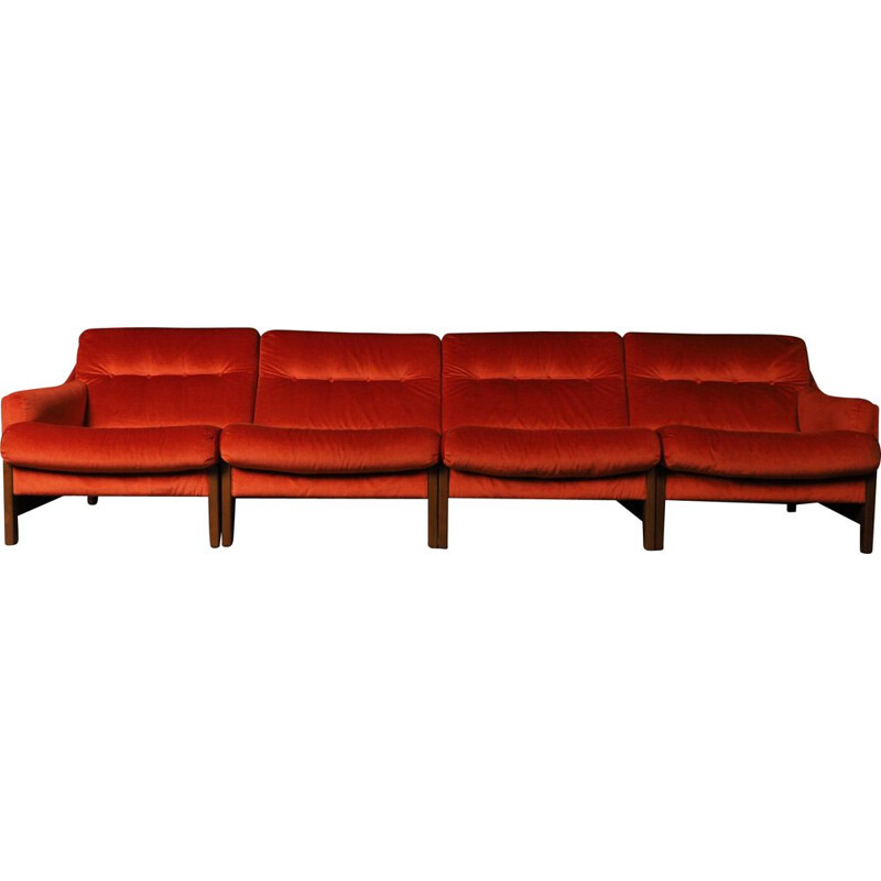 Vintage bright orange modular sofa, 2-3-4 seater
