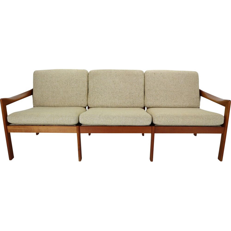 Vintage three-seater teak sofa by Illum Wikkelsø for Niels Eilersen, Denmark, 1960