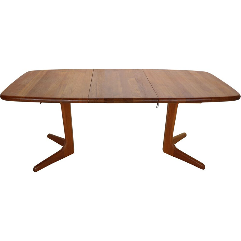 Vintage Solid Teak Oval Extendable Dinning Table by Glostrup Møbelfabrik, 1960