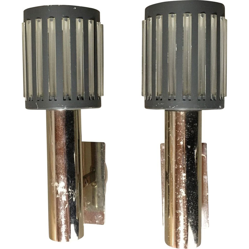 Pair of vintage metal sconces 1950