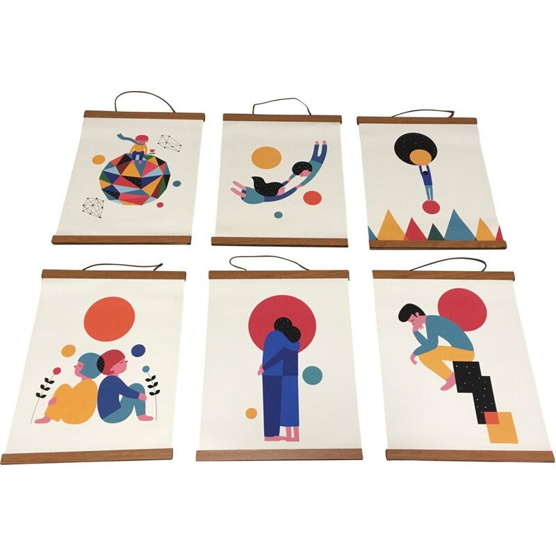 Set of 6 leather and teak canvas posters Scandinavian Design