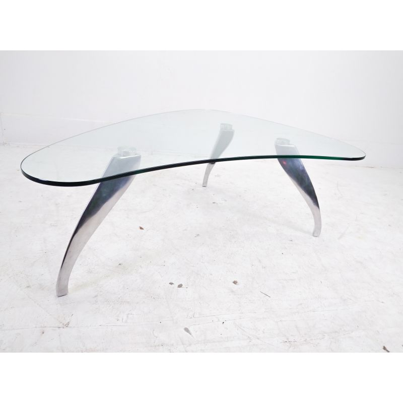Vintage Glass Coffee Table In The Shape Of A Kidney Design Market